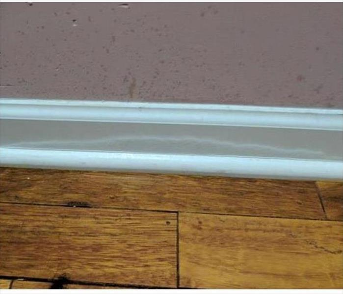Closeup of baseboard with water damage